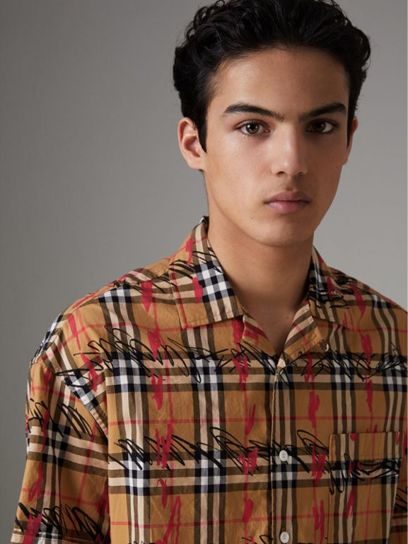 Short-sleeve Scribble Check Cotton Shirt in Antique Yellow - Men | Burberry United Kingdom - cell image 1