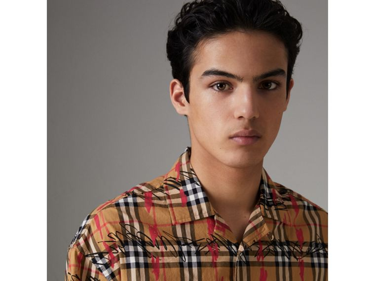 Short-sleeve Scribble Check Cotton Shirt in Antique Yellow - Men | Burberry - cell image 1