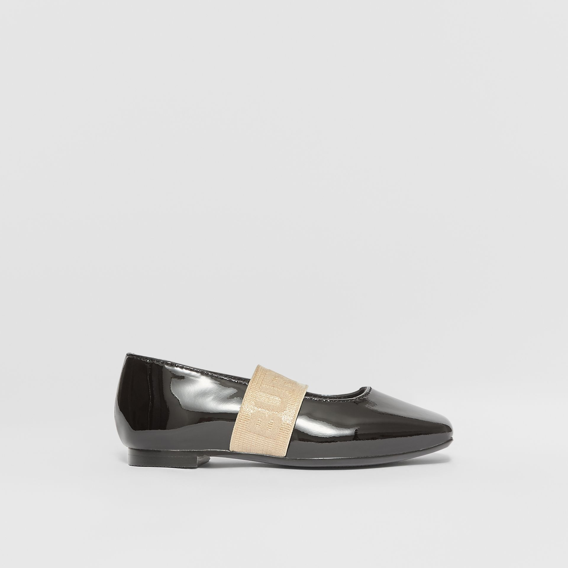 Logo Detail Patent Leather Flats in Black - Children | Burberry Australia - gallery image 3