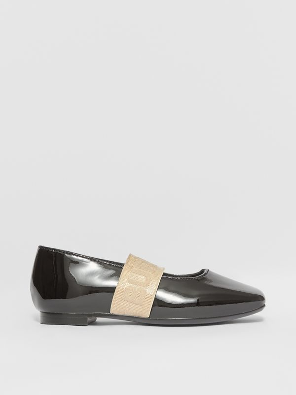 Logo Detail Patent Leather Flats in Black - Children | Burberry - cell image 3