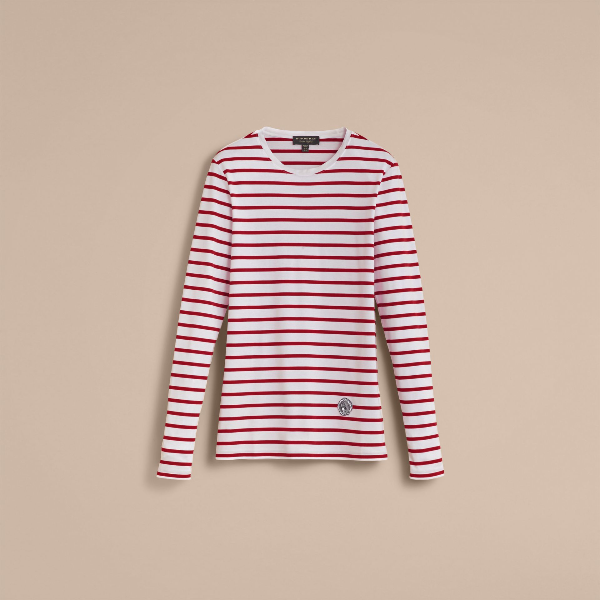 Unisex Pallas Heads Motif Breton Stripe Cotton Top - Women | Burberry - gallery image 4