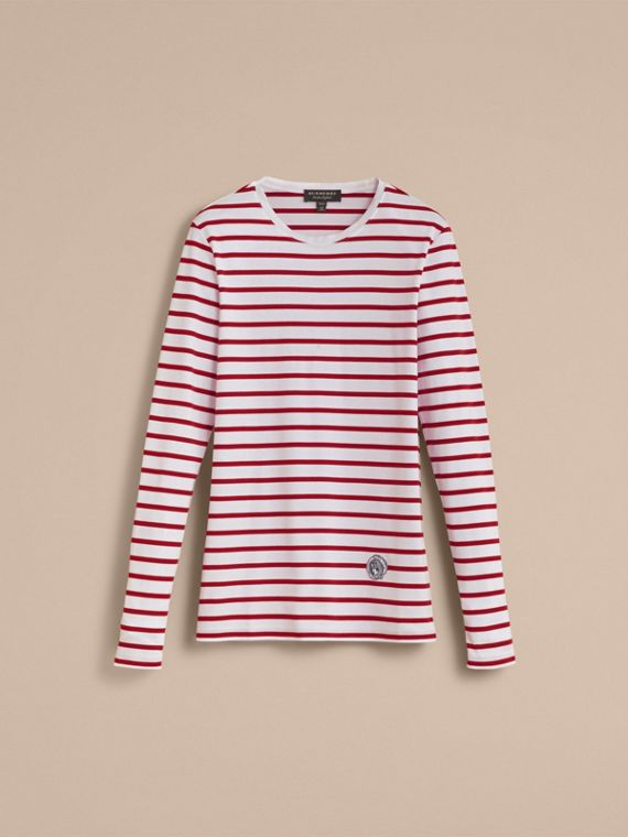 Unisex Pallas Heads Motif Breton Stripe Cotton Top - cell image 3