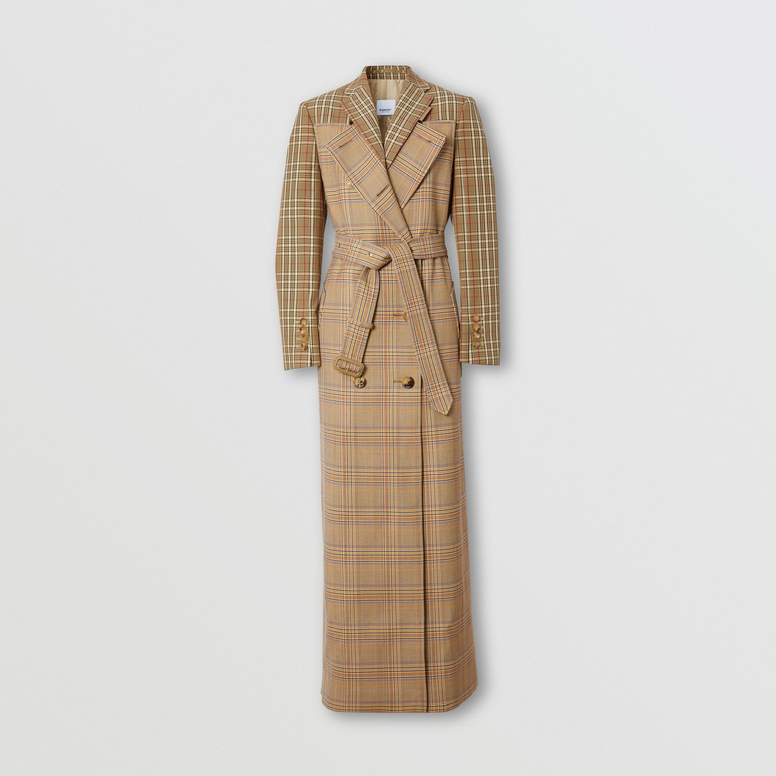 Contrast Check Wool Cotton Trench Coat in Dark Honey - Women | Burberry - 4