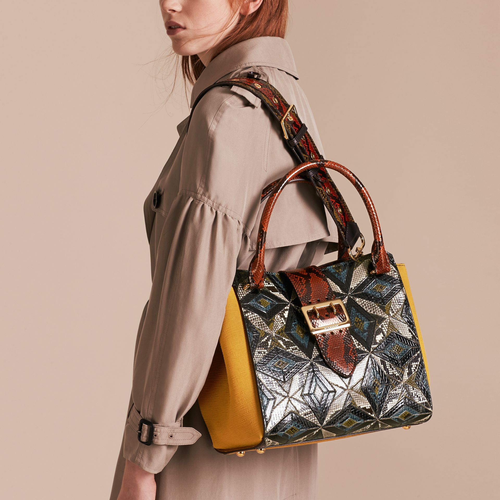 The Medium Buckle Tote in Tiled Snakeskin in Mineral Blue - Women | Burberry - gallery image 3