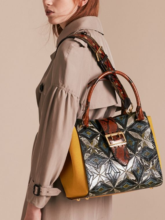 The Medium Buckle Tote in Tiled Snakeskin Mineral Blue - cell image 3