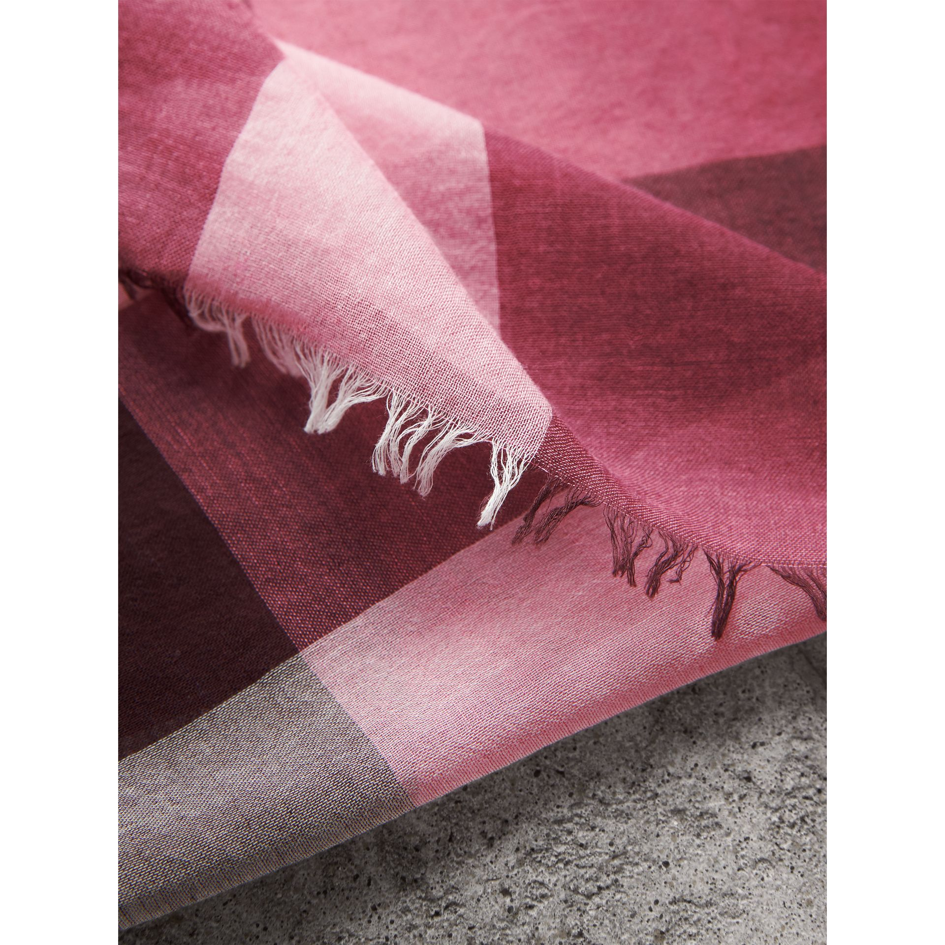 Check Modal Cashmere and Silk Scarf in Rose Pink - Women | Burberry - gallery image 2