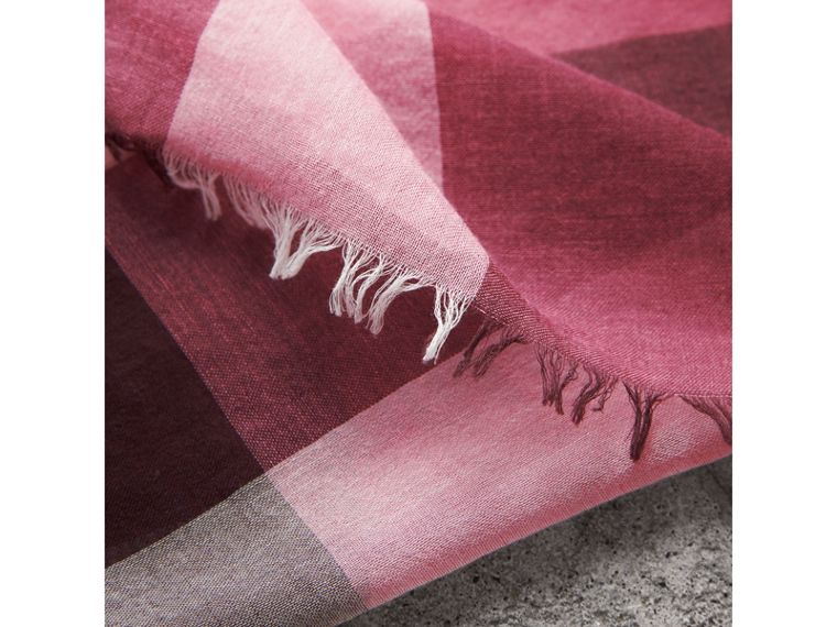 Check Modal Cashmere and Silk Scarf in Rose Pink - Women | Burberry - cell image 1