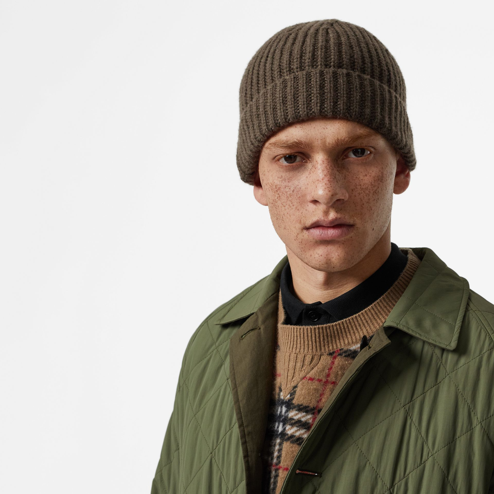Rib Knit Cashmere Beanie in Olive Green | Burberry - gallery image 3