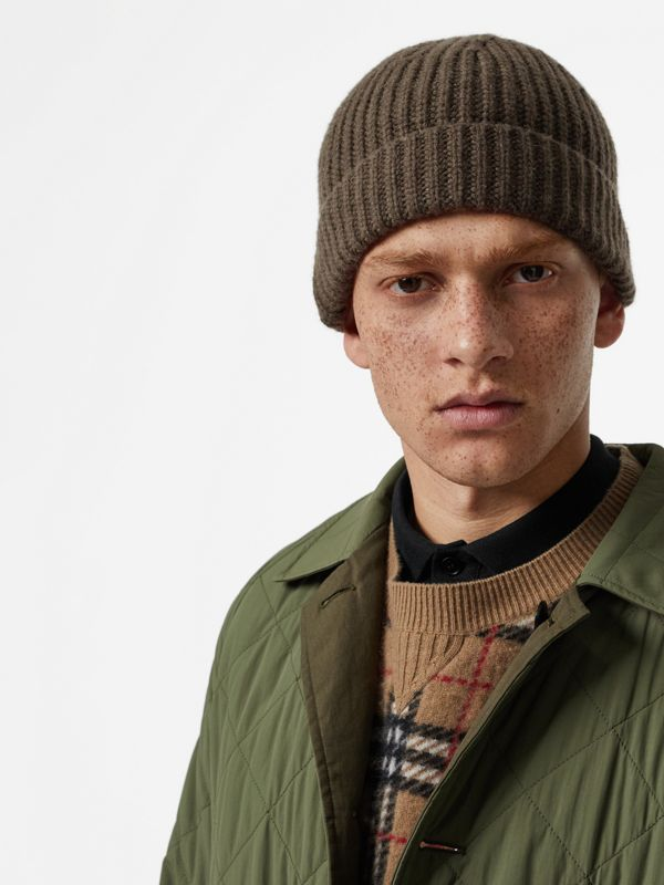 Rib Knit Cashmere Beanie in Olive Green | Burberry - cell image 3