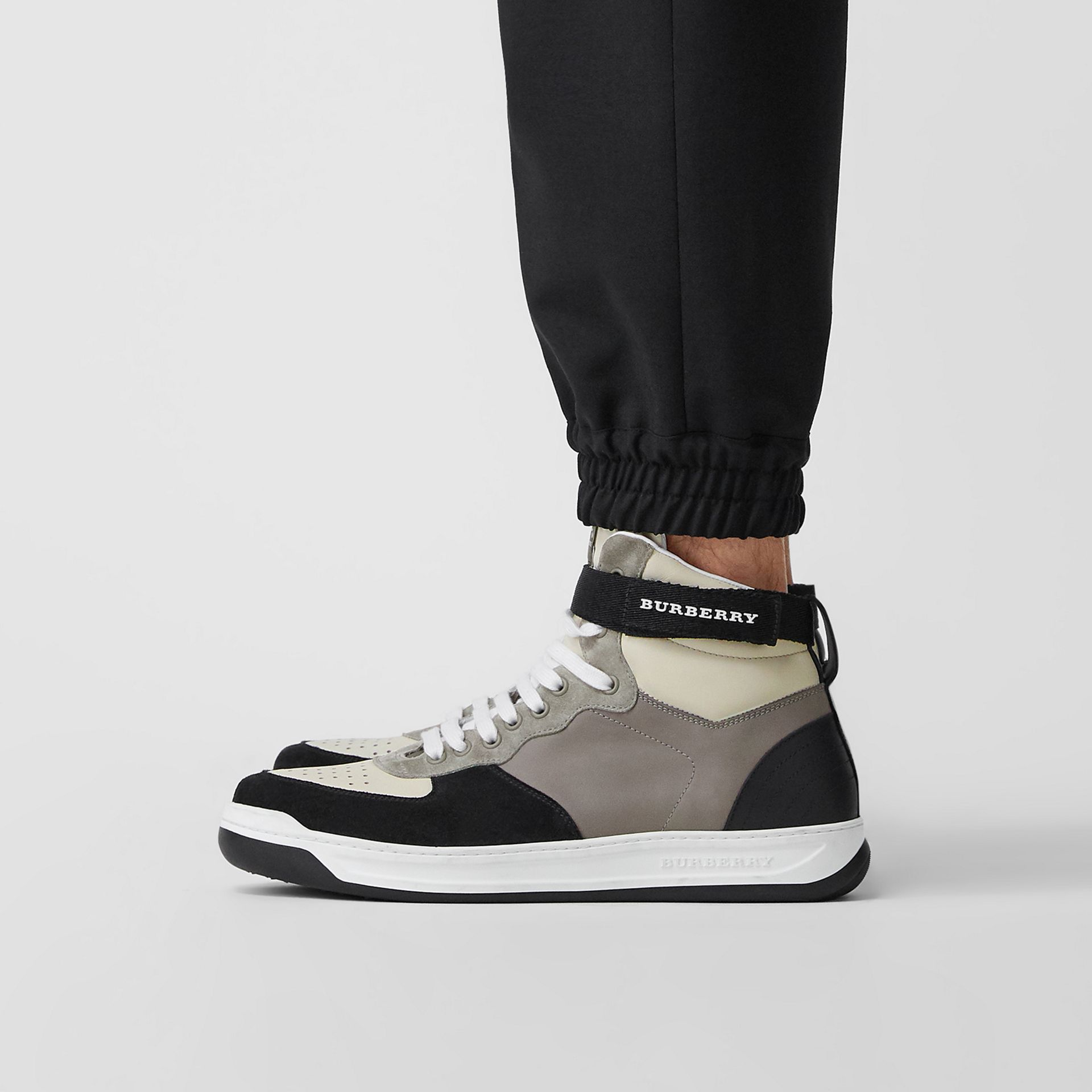 Leather and Suede High-top Sneakers in Mineral Grey - Men | Burberry - gallery image 2