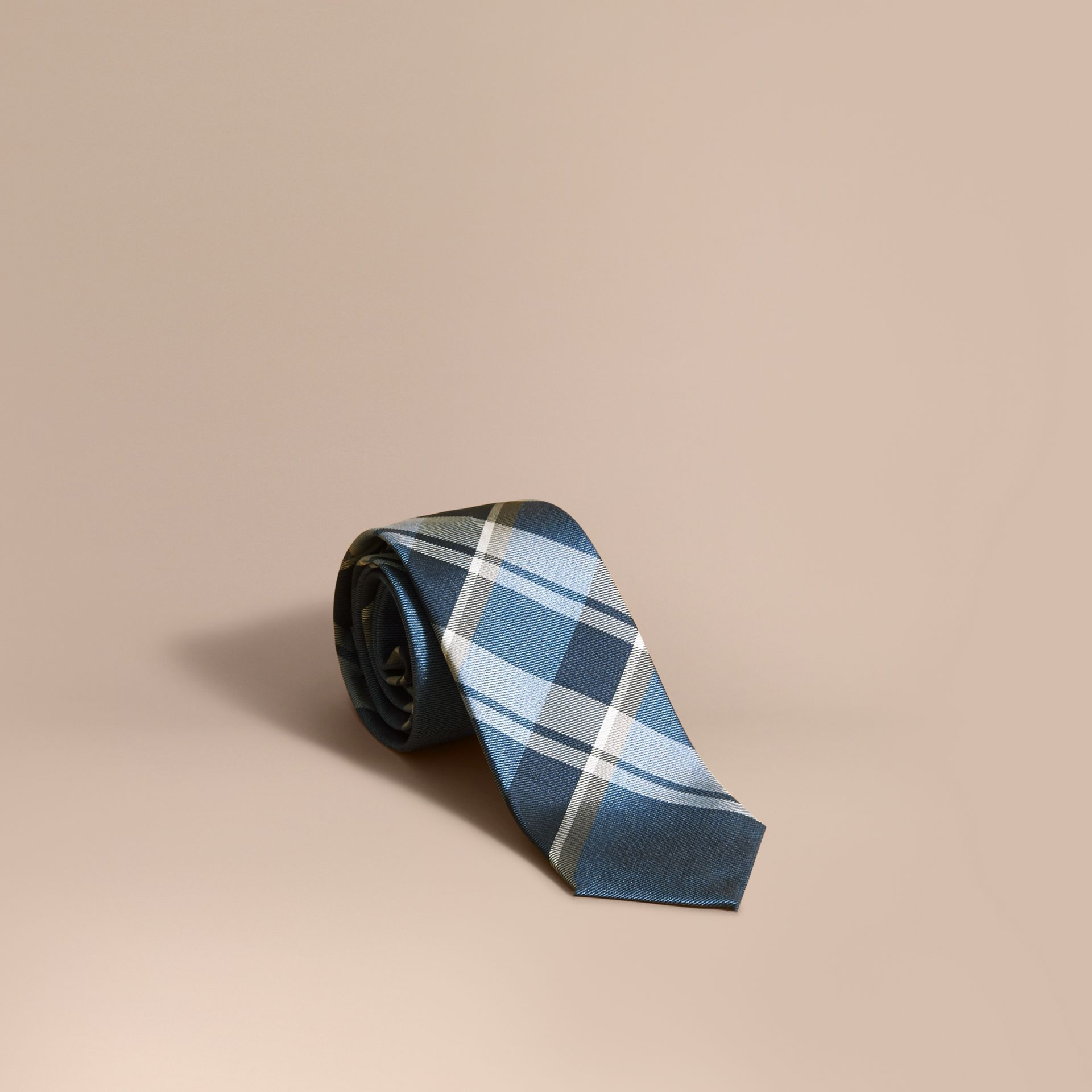 Modern Cut Check Jacquard Silk Tie in Mineral Blue - gallery image 1