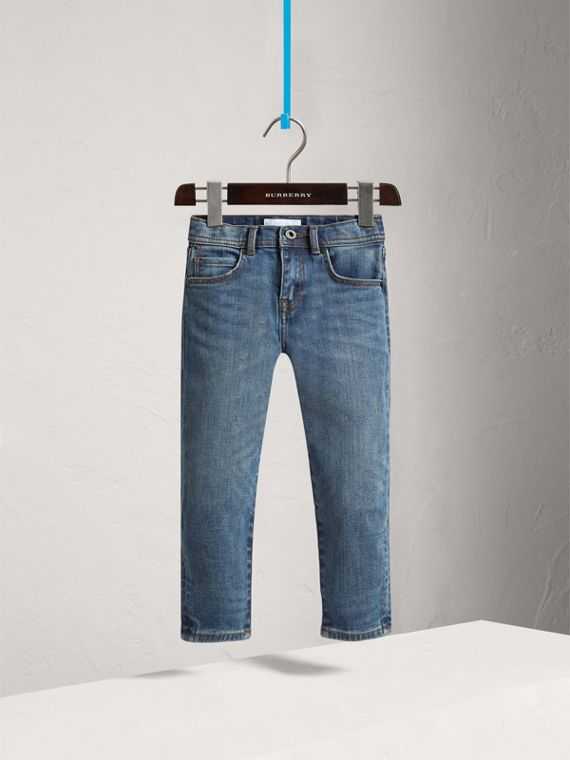 Relaxed Fit Stretch Denim Jeans in Mid Indigo - Girl | Burberry United Kingdom - cell image 2