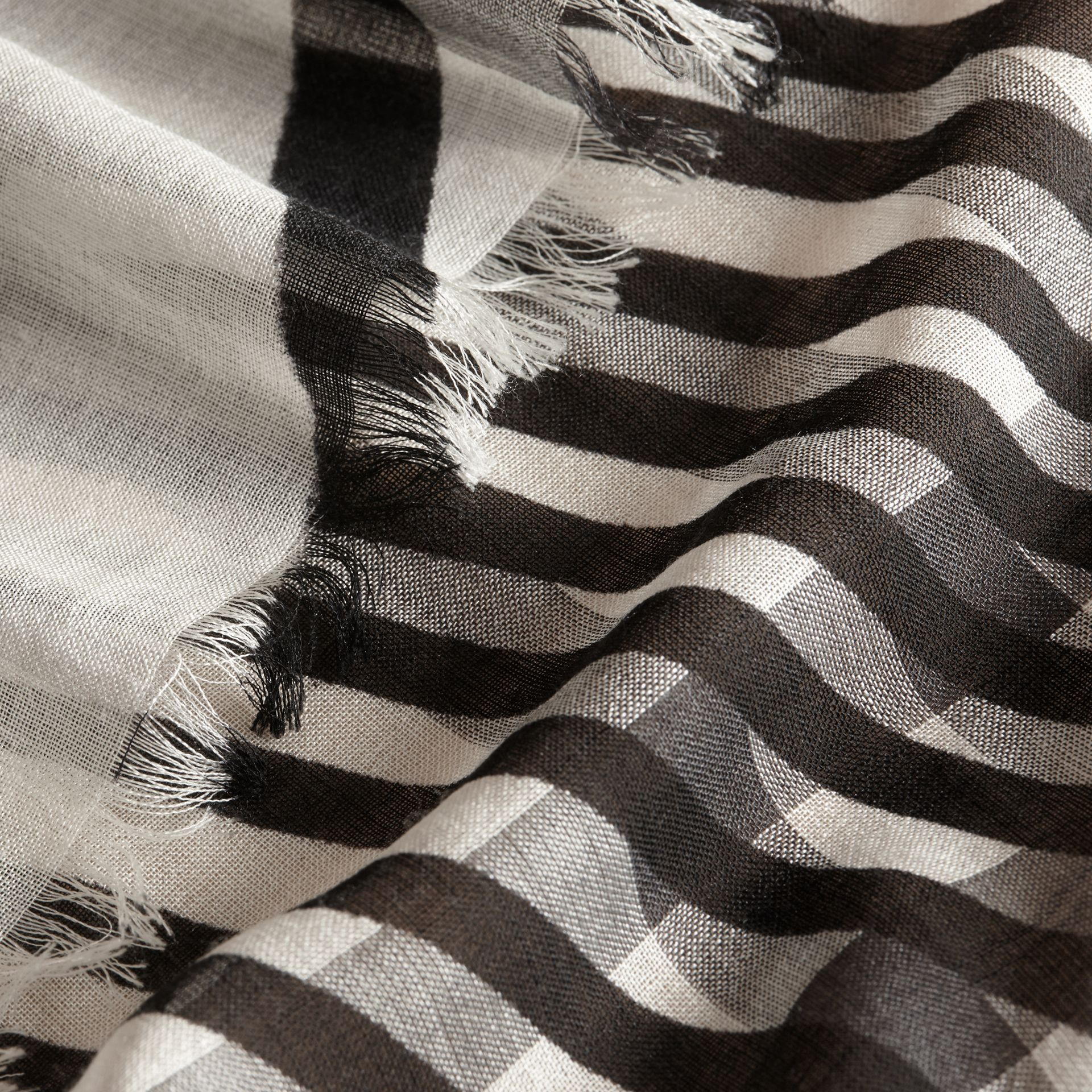 Check Wool Silk Scarf with Trompe L'oeil Print Natural White/black - gallery image 2