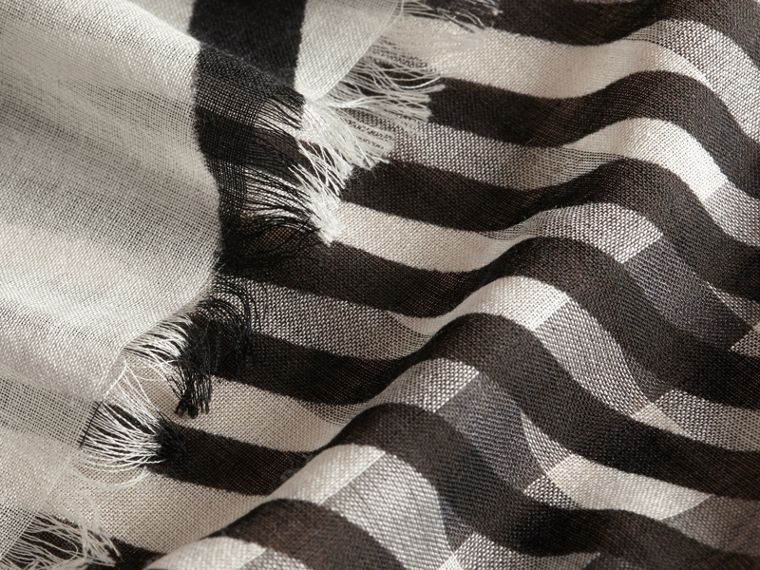Check Wool Silk Scarf with Trompe L'oeil Print in Natural White/black - Women | Burberry - cell image 1