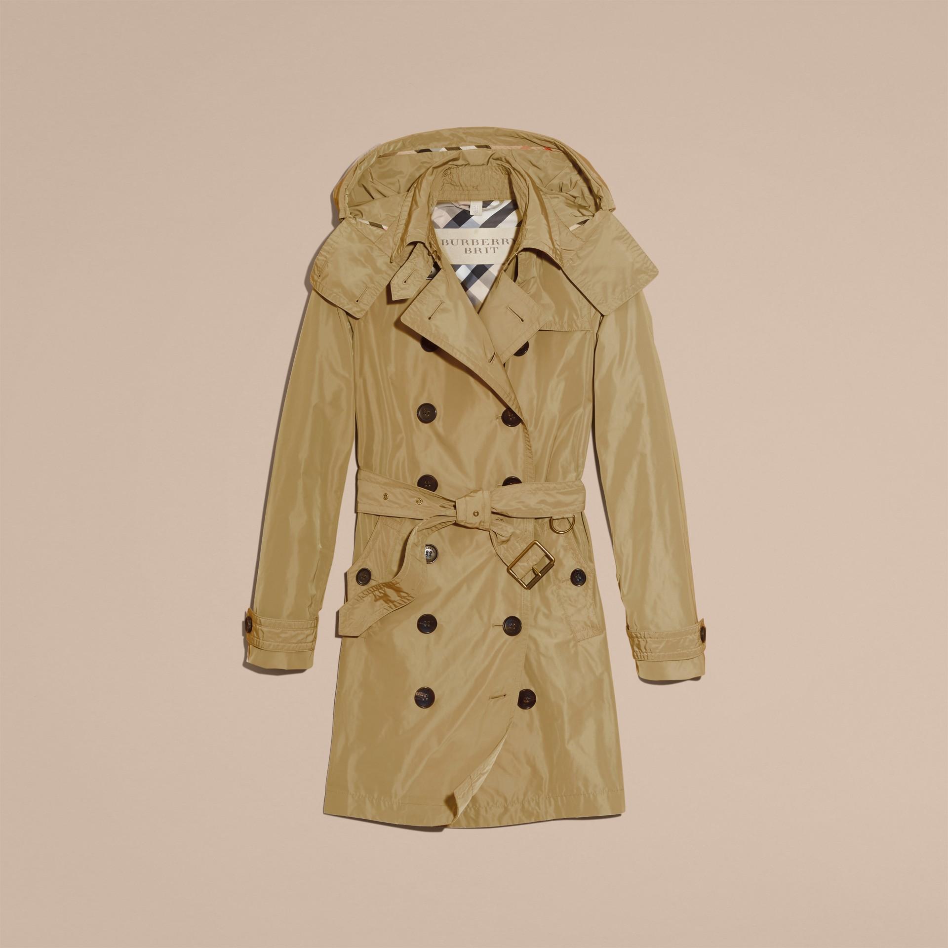 Sisal Trench coat en tafetán con capucha de quita y pon Sisal - imagen de la galería 7
