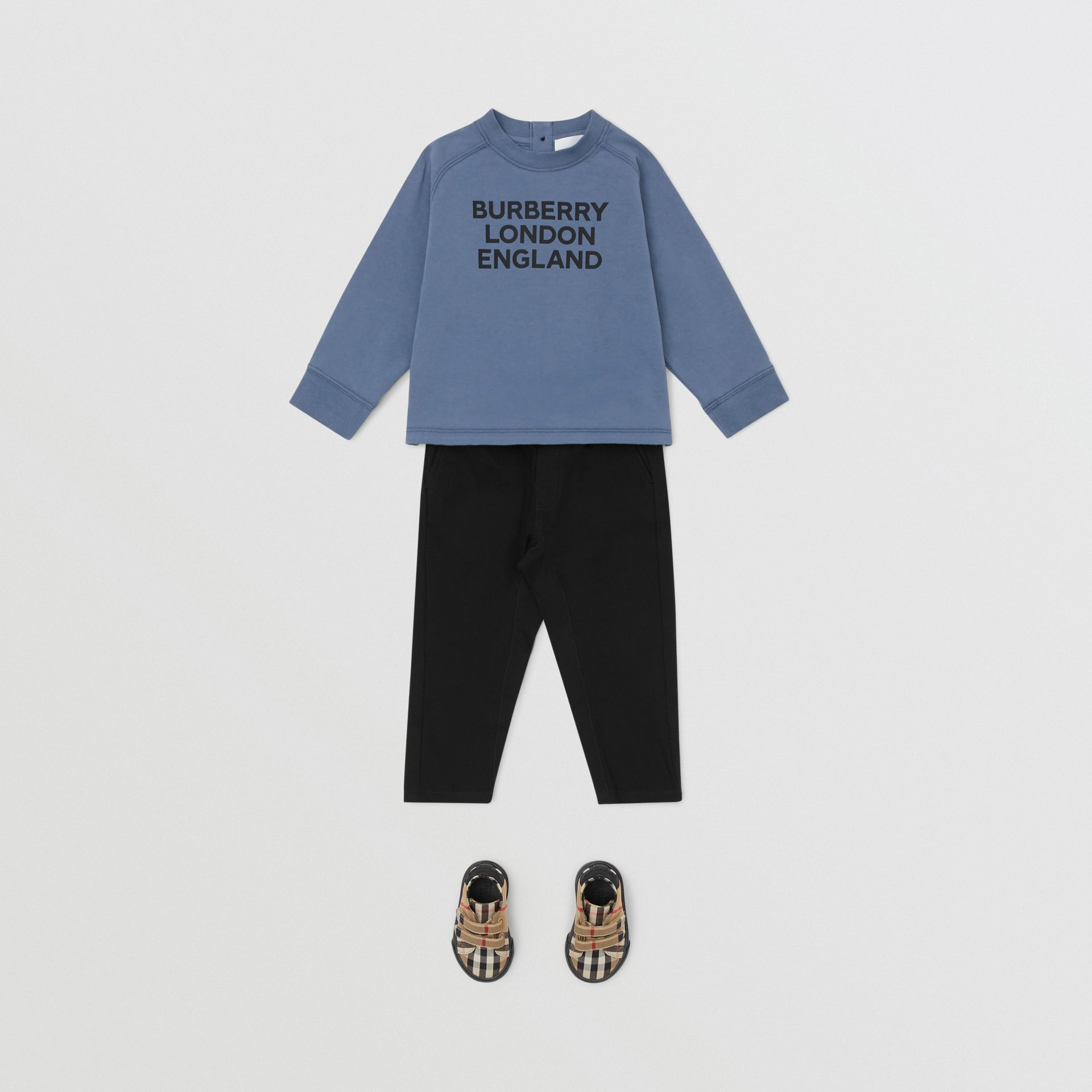 Long-sleeve Logo Print Cotton Top in Steel Blue - Children   Burberry United Kingdom - gallery image 2