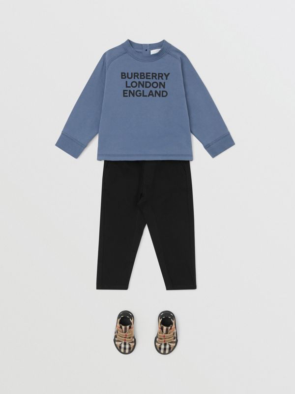 Long-sleeve Logo Print Cotton Top in Steel Blue - Children   Burberry United Kingdom - cell image 2