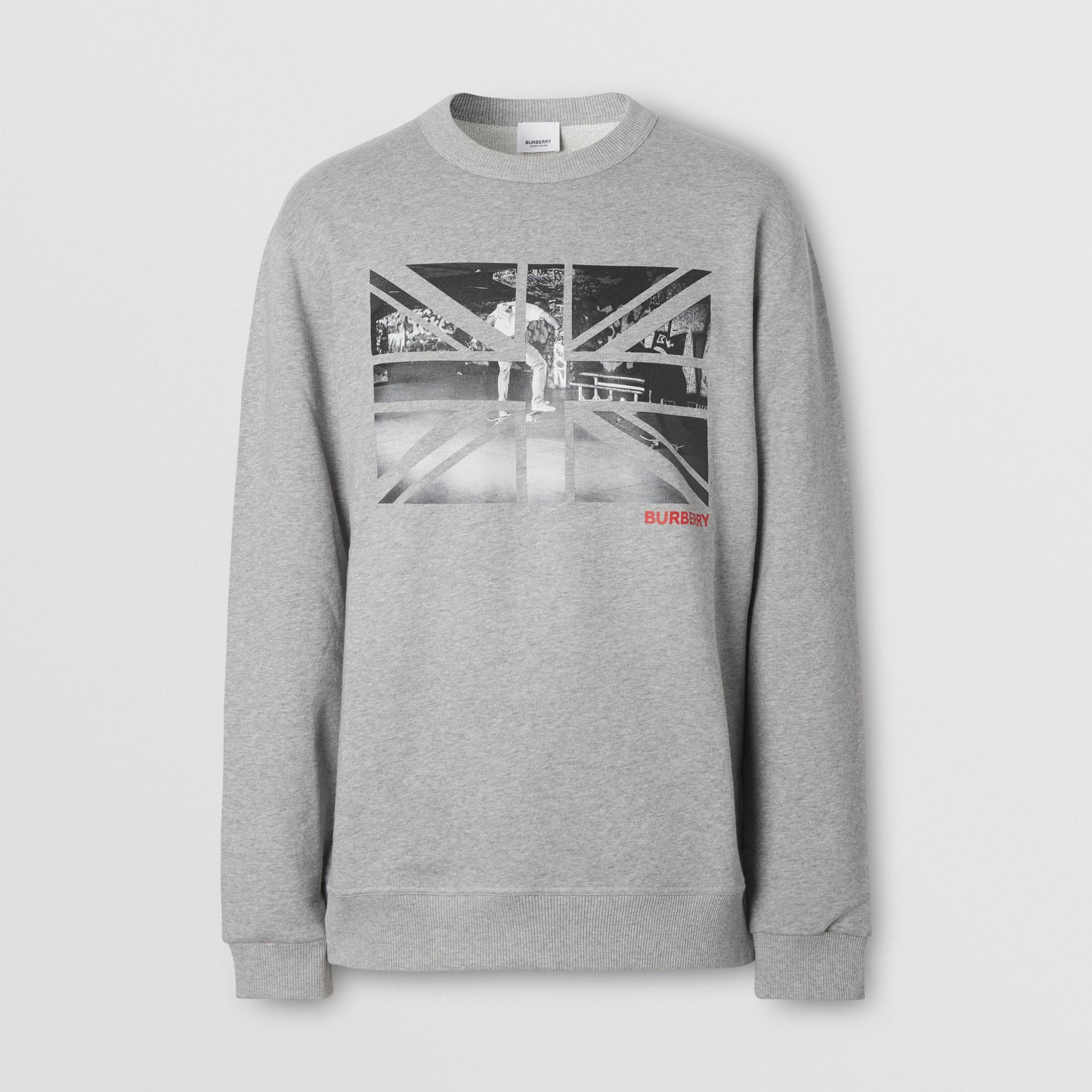 Union Jack Photo Print Cotton Sweatshirt in Pale Grey Melange - Men | Burberry - gallery image 3