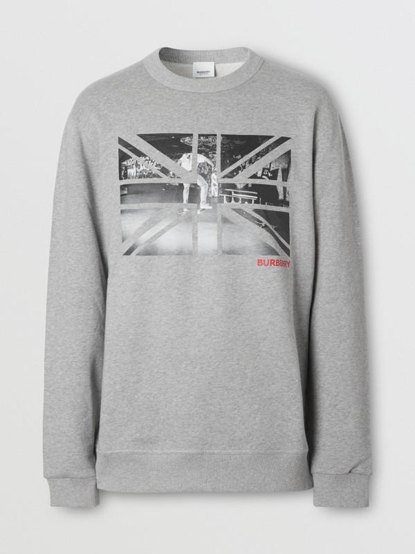 Union Jack Photo Print Cotton Sweatshirt in Pale Grey Melange - Men | Burberry - cell image 3