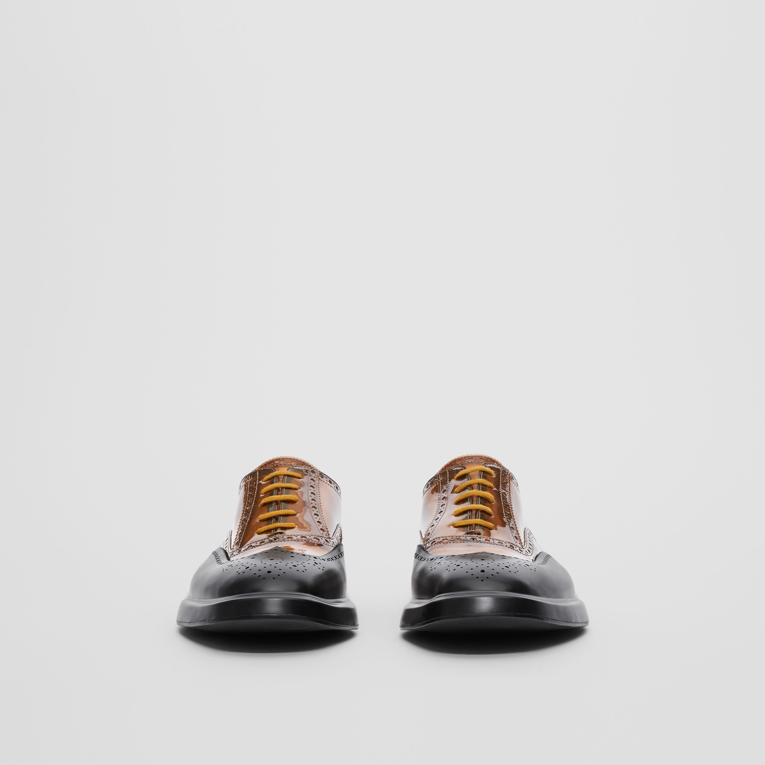 Toe Cap Detail Vinyl and Leather Oxford Brogues in Brown/black - Men | Burberry United Kingdom - 4