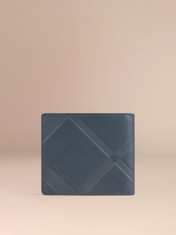 Steel blue Check-embossed Leather Folding Wallet Steel Blue - cell image 2