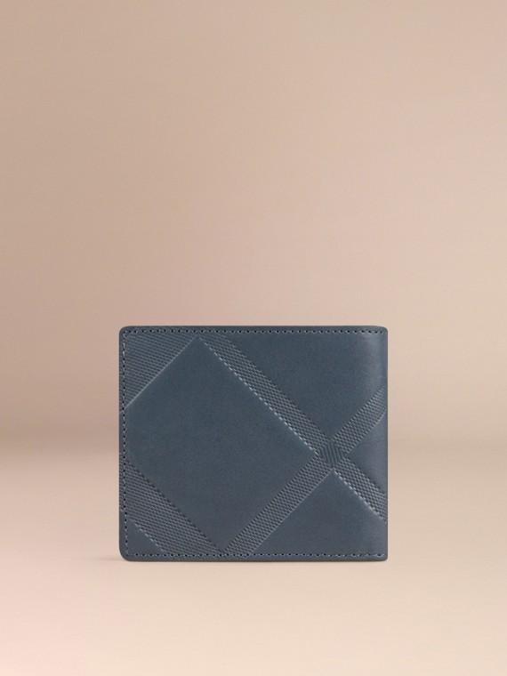 Blu acciaio Portafoglio a libro in pelle con motivo check in rilievo Blu Acciaio - cell image 2
