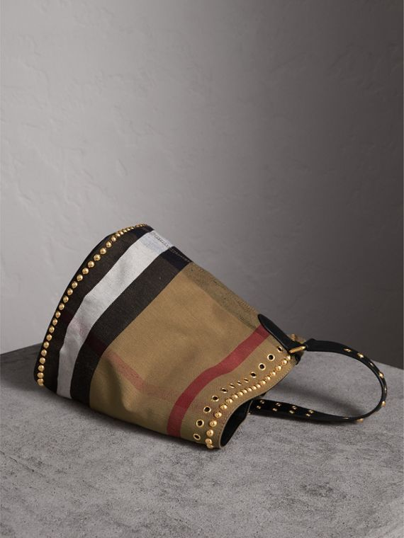 The Medium Ashby in Riveted Canvas Check and Leather - Women | Burberry - cell image 3