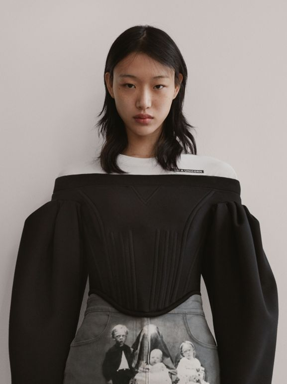 Off-the-shoulder Neoprene Corset Top in Black - Women | Burberry United Kingdom - cell image 1
