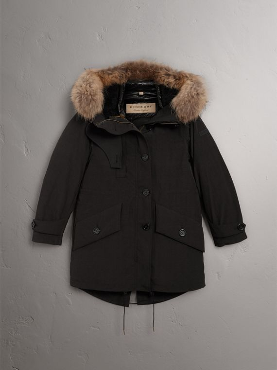 Raccoon Fur and Shearling Trim Parka with Warmer in Black - Women | Burberry - cell image 3