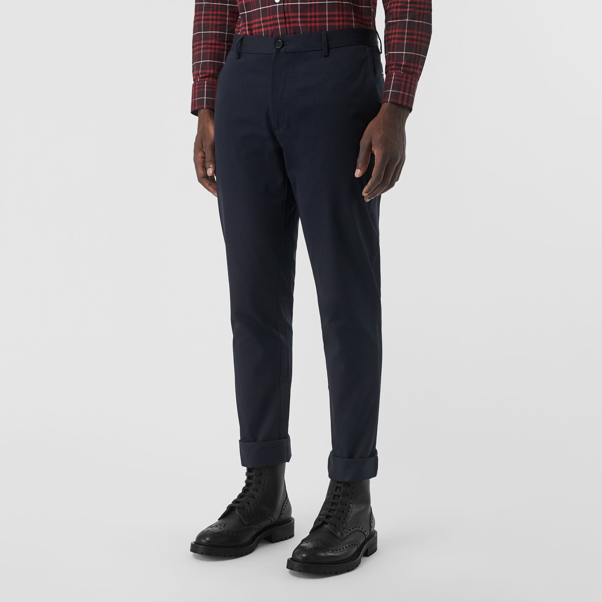 Slim Fit Cotton Chinos in Navy - Men | Burberry United Kingdom - gallery image 4