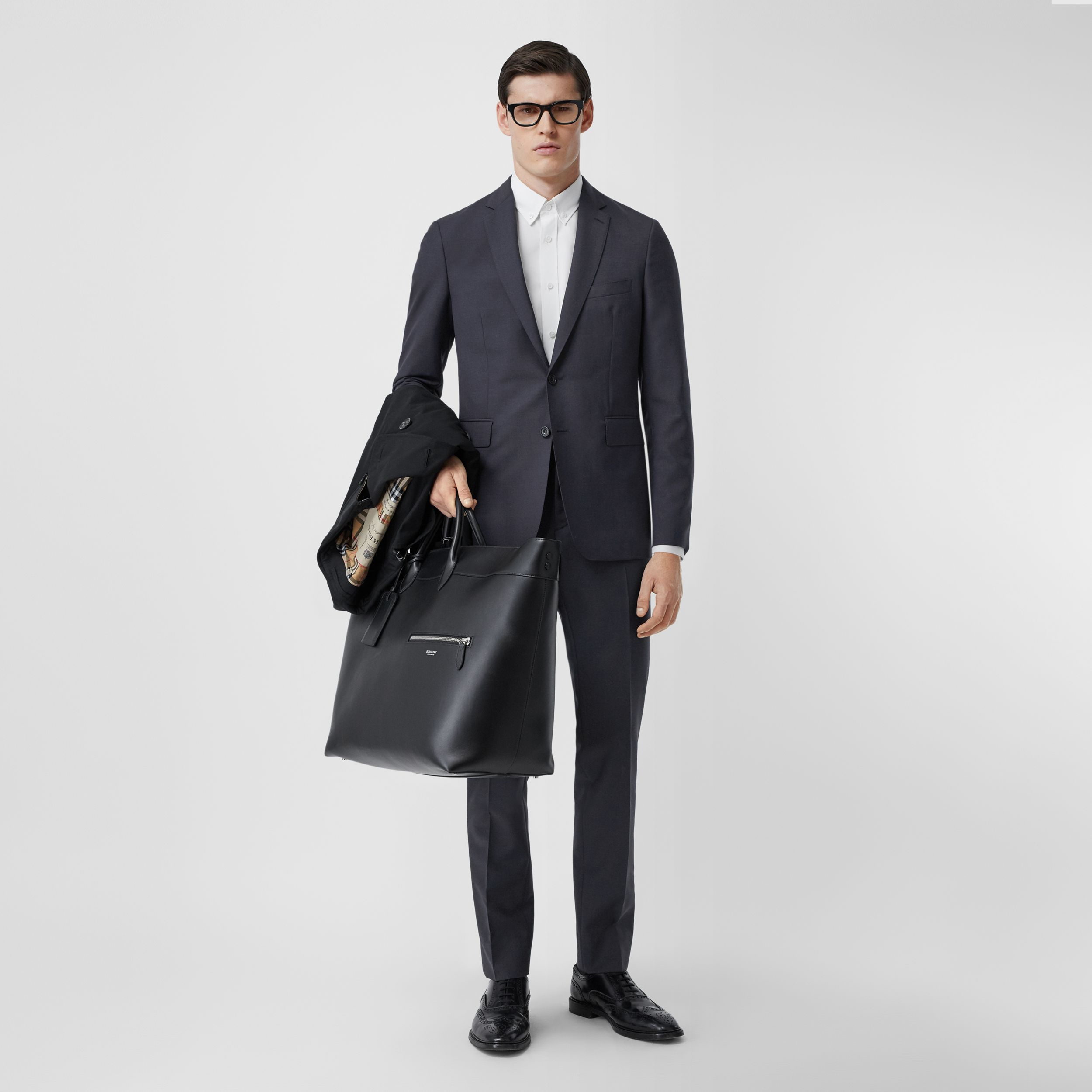 Slim Fit Wool Mohair Suit in Navy - Men | Burberry Australia - 1