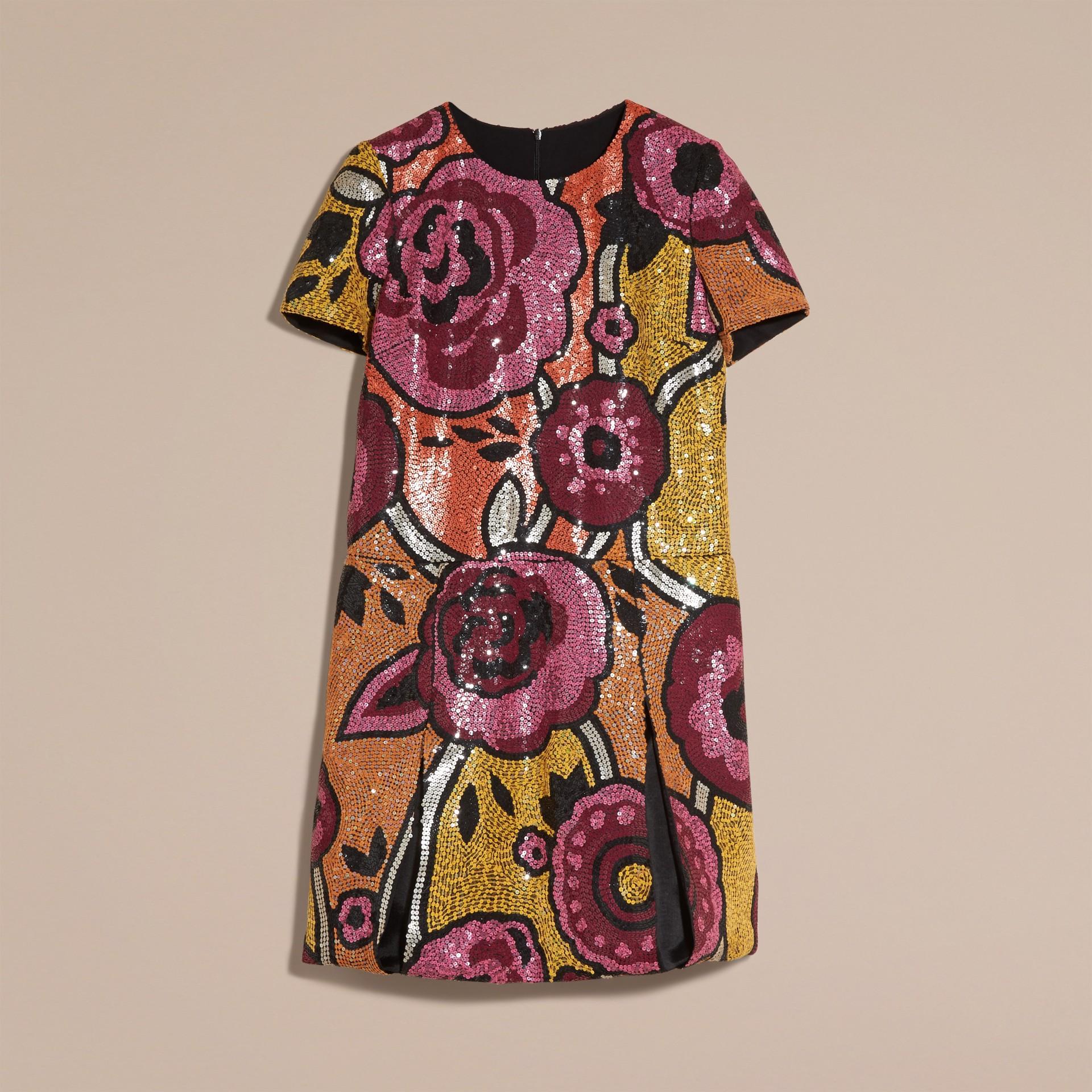 Rouge orangé Robe t-shirt à sequins brodés à la main Rouge Orangé - photo de la galerie 4