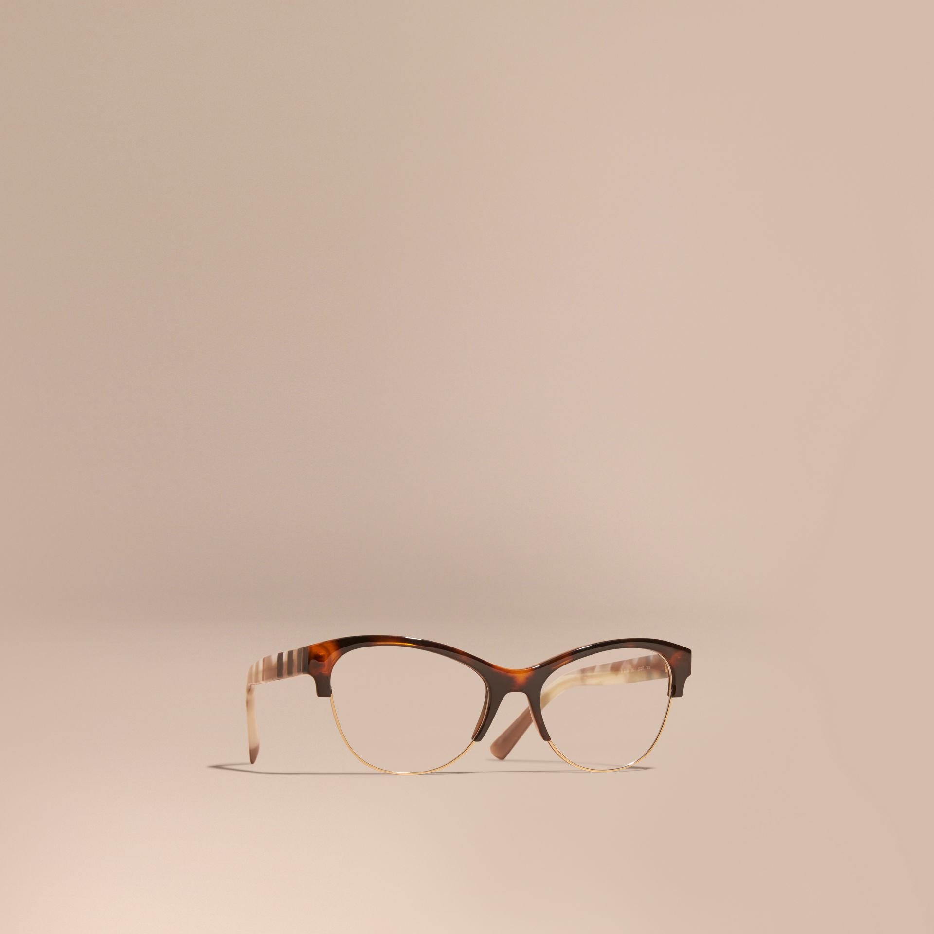 Half-rimmed Cat-eye Optical Frames Light Russet Brown - gallery image 1
