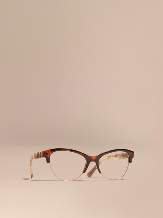 Half-rimmed Cat-eye Optical Frames Light Russet Brown