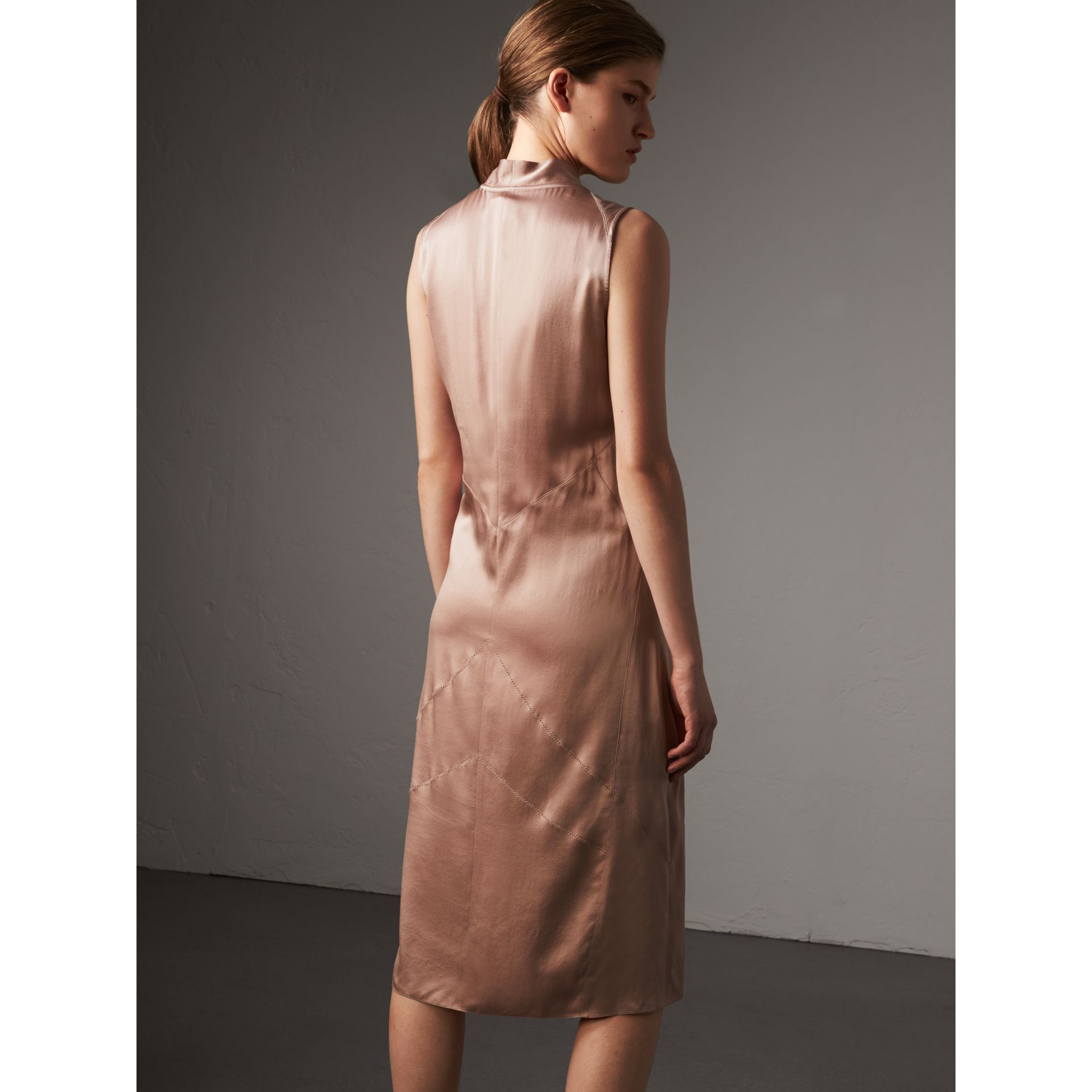 Silk Satin Tie-neck Dress in Antique Taupe Pink - Women | Burberry United Kingdom - gallery image 3