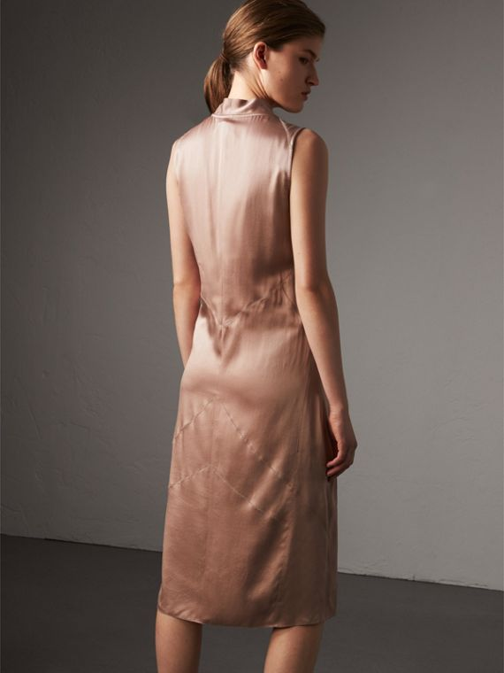Silk Satin Tie-neck Dress in Antique Taupe Pink - Women | Burberry United Kingdom - cell image 2