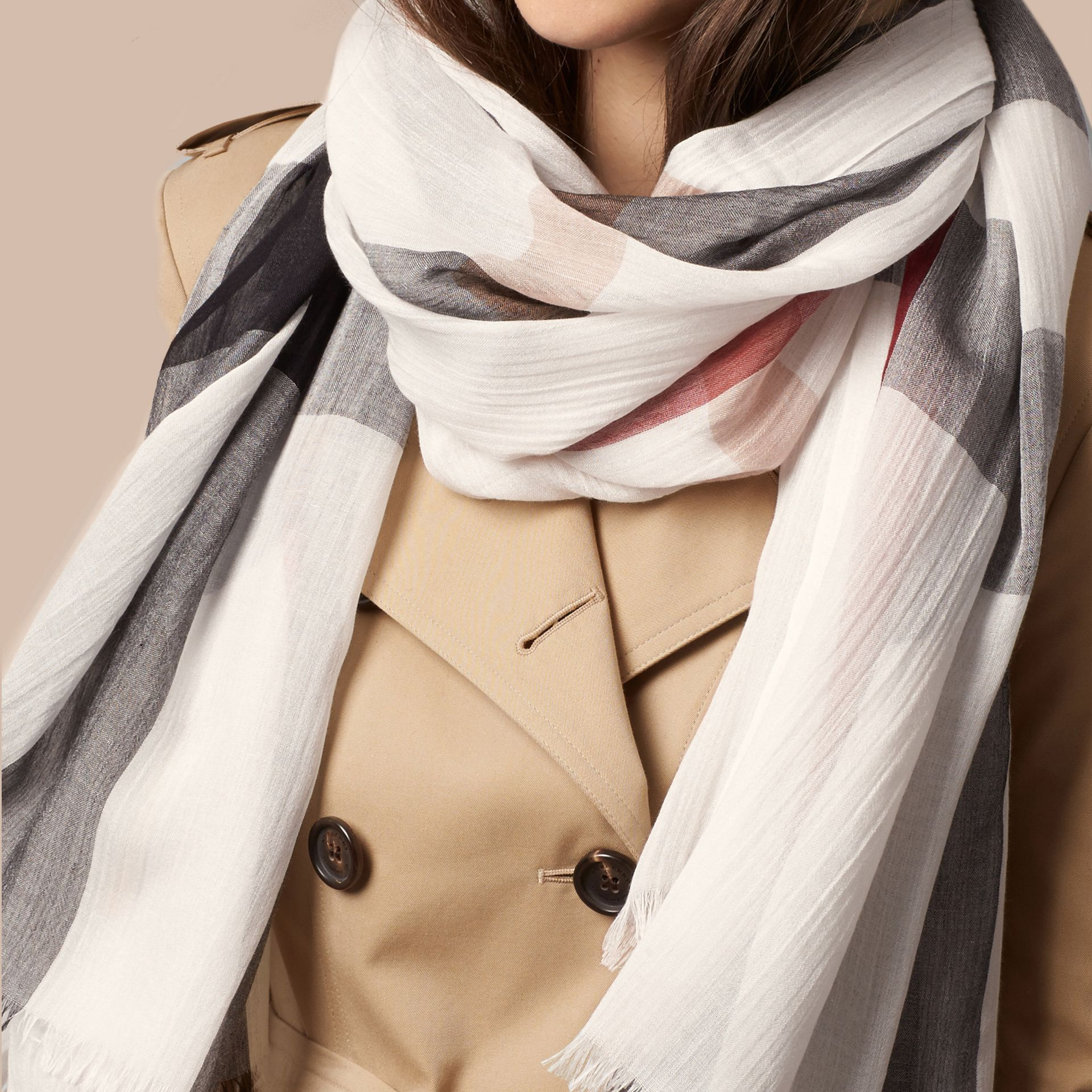 Check Modal Cashmere and Silk Scarf in Ivory - gallery image 4