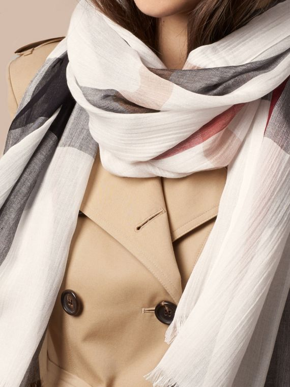 Check Modal Cashmere and Silk Scarf Ivory - cell image 3