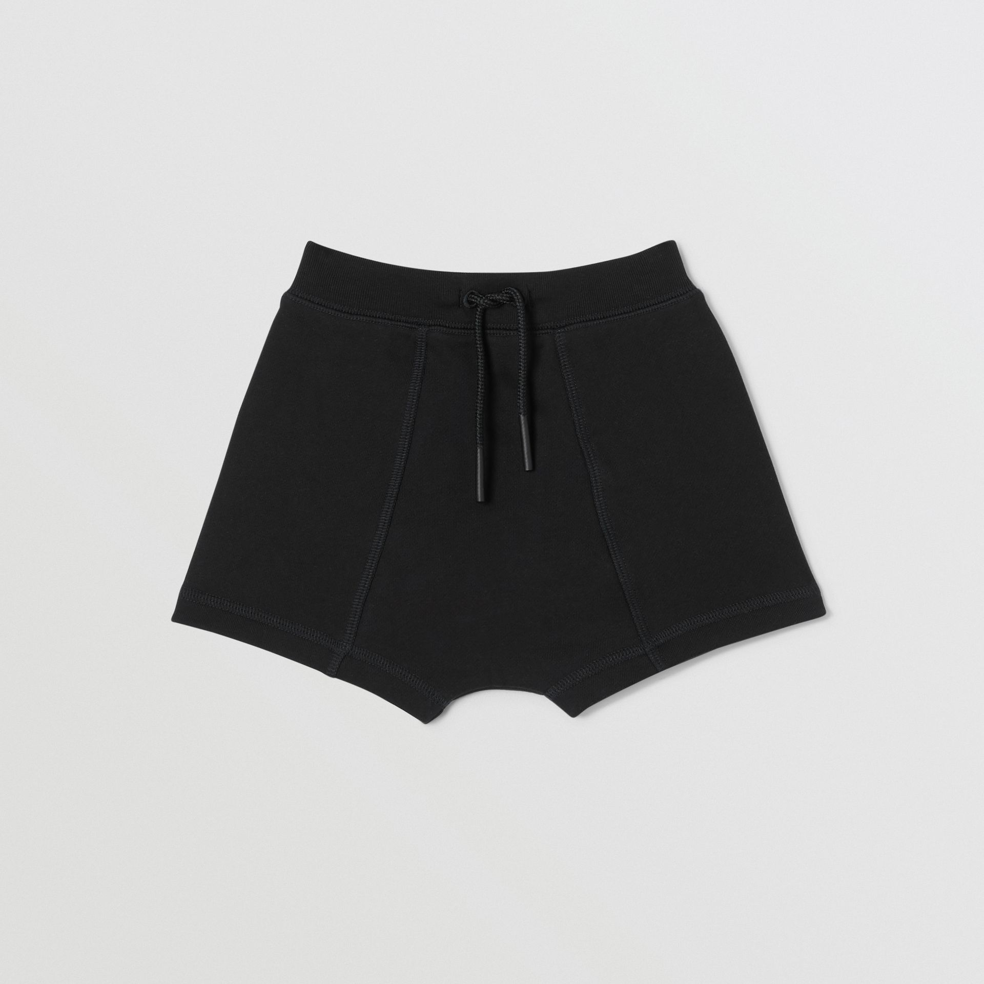 Logo Tape Cotton Drawcord Shorts in Black - Children | Burberry - gallery image 0
