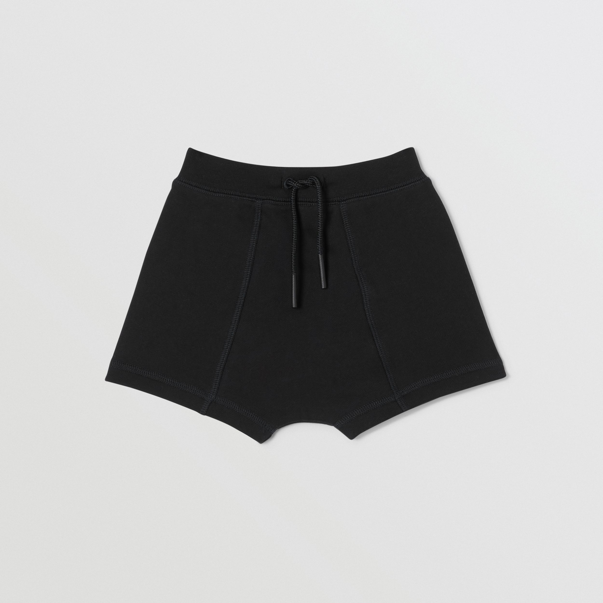 Logo Tape Cotton Drawcord Shorts in Black - Children | Burberry - 1