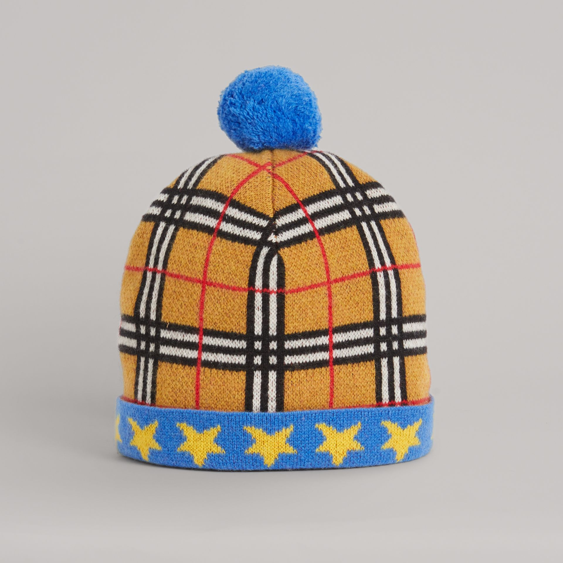 Stars and Check Cashmere Turnback Beanie in Canvas Blue | Burberry - gallery image 0