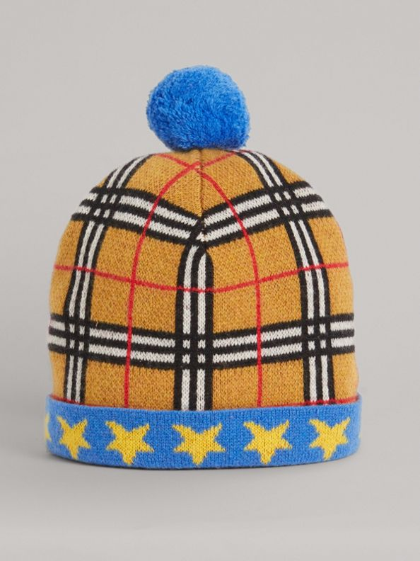 Stars and Check Cashmere Turnback Beanie in Canvas Blue