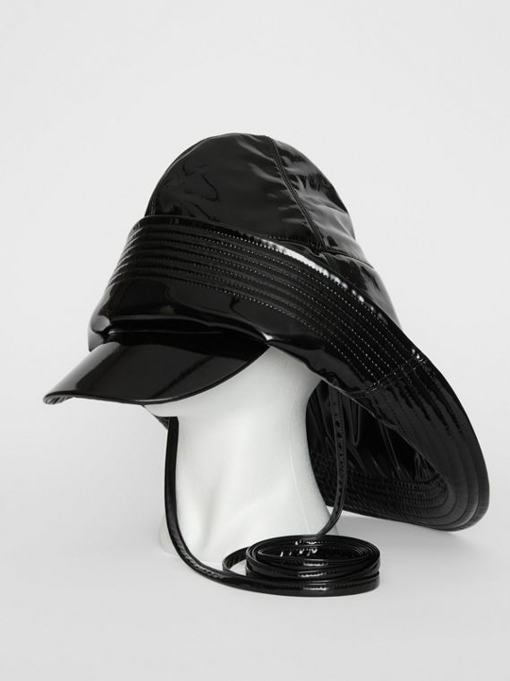 Logo Print Rain Hat in Black