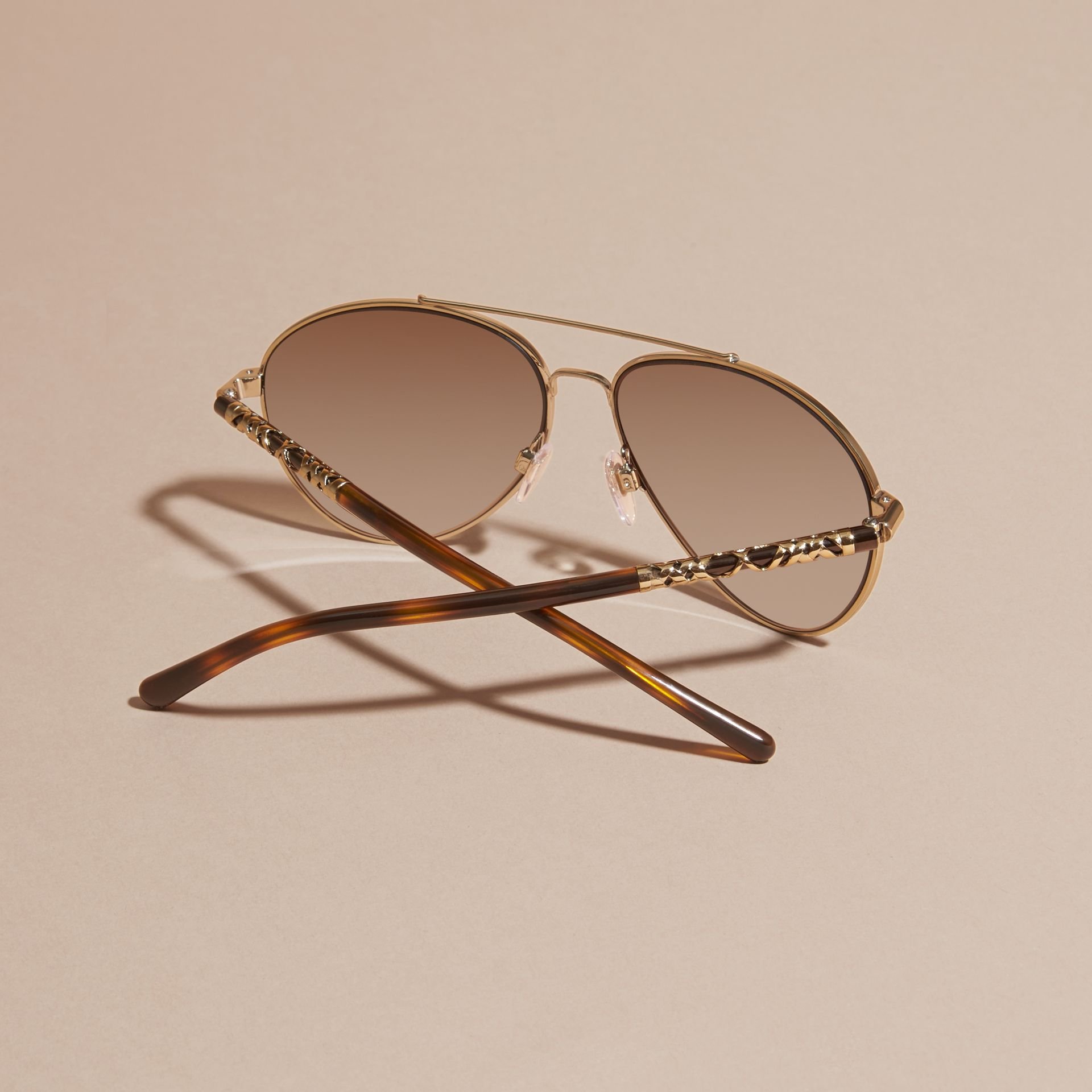 Check Detail Pilot Sunglasses in Pale Gold - Women | Burberry - gallery image 4