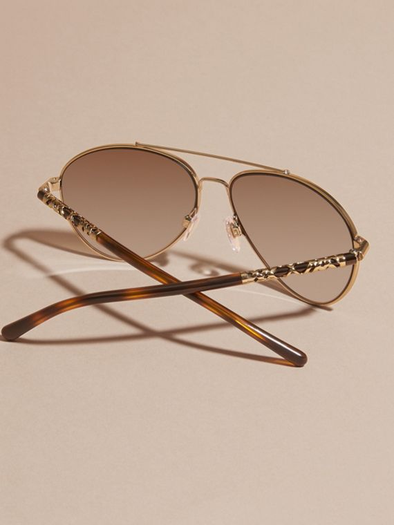 Check Detail Pilot Sunglasses in Pale Gold - Women | Burberry United States - cell image 3