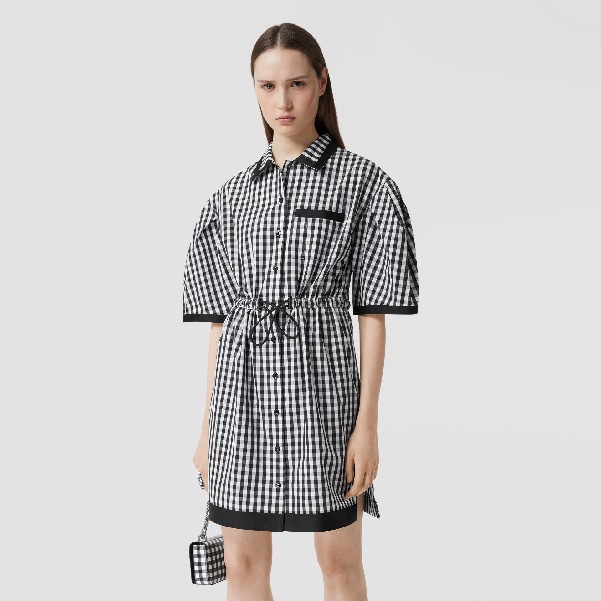 Puff-sleeve Gingham Cotton Shirt Dress in Black - Women | Burberry - gallery image 4