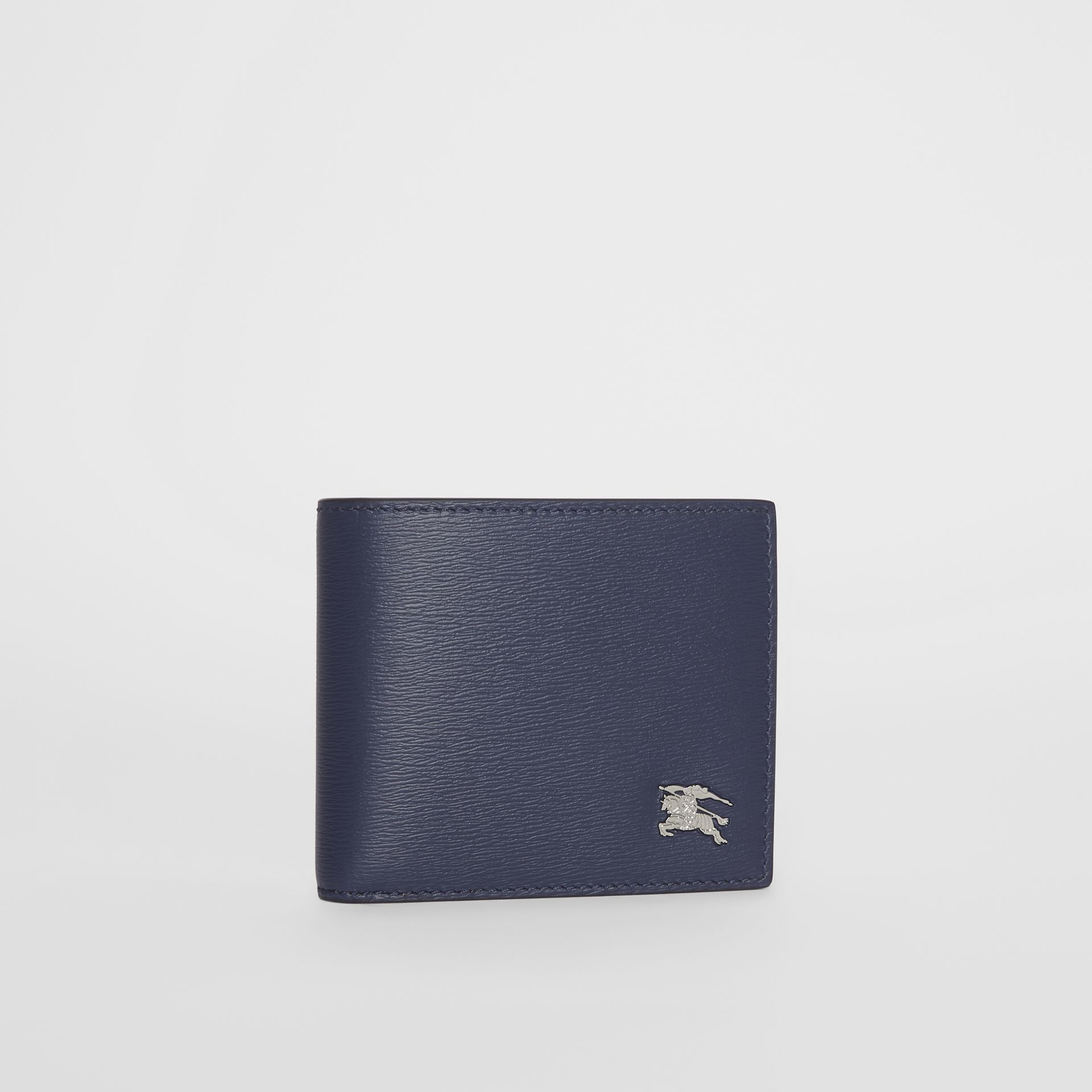 London Leather Bifold Wallet with ID Card Case in Navy - Men | Burberry Australia - gallery image 3