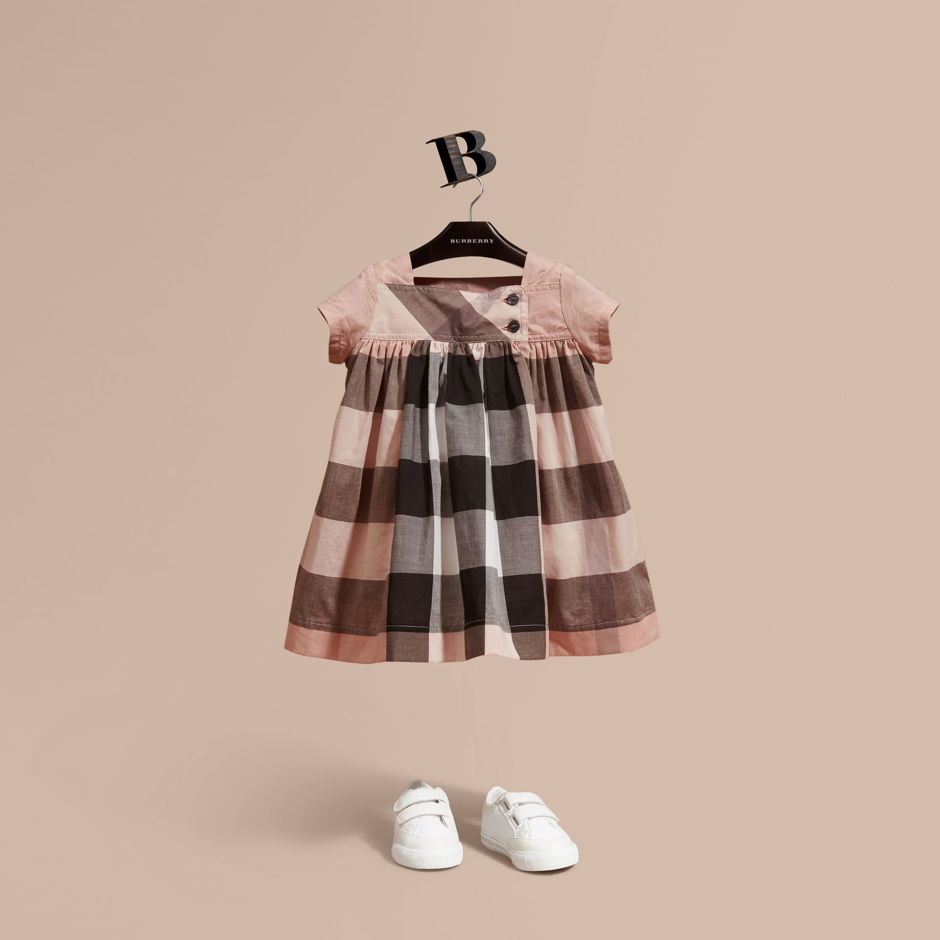 Antique pink Check Cotton Dress - gallery image 1