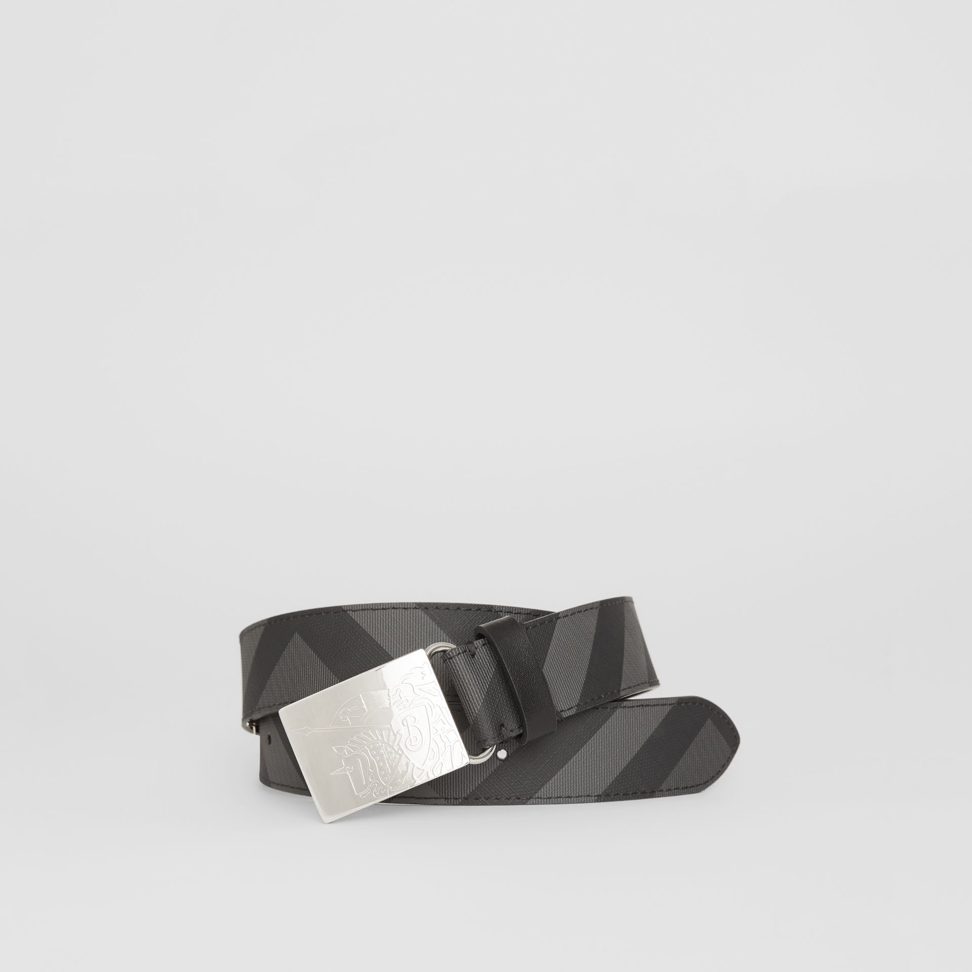 EKD Plaque Buckle London Check and Leather Belt in Charcoal/black - Men | Burberry United States - gallery image 0