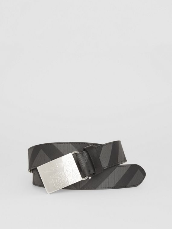 EKD Plaque Buckle London Check and Leather Belt in Charcoal/black